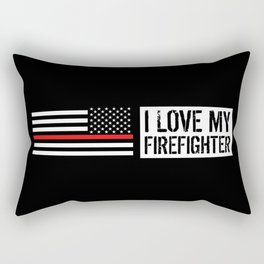 Firefighter: I Love My Firefighter (Thin Red Line) Rectangular Pillow