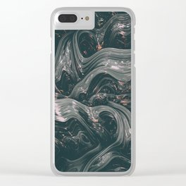 turne II. Abstract Charcoal Melt Clear iPhone Case