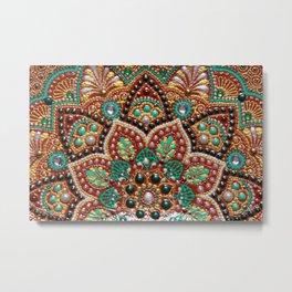 Copper flower mandala Metal Print
