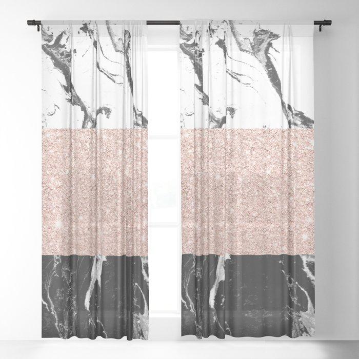 Modern black white marble rose gold color block stripes pattern Sheer Curtain