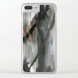 01025 [2]: a neutral abstract in gold, black, and white Clear iPhone Case