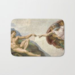 Creation of Adam - Painted by Michelangelo Bath Mat