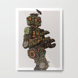 Floral Robot Metal Print