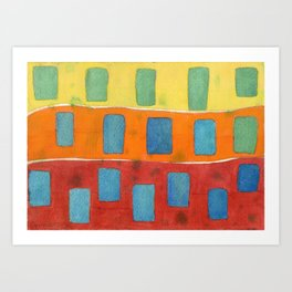 Placed in a Red Orange Yellow Field Art Print