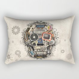 retro tech skull 2 Rectangular Pillow