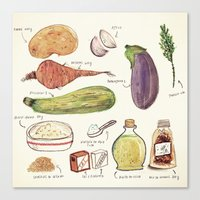 vegetables Canvas Prints featuring Vegetables by Juliana Cuervo