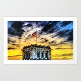 Berlin Sunrise Landscape Painting by Jeanpaul Ferro Art Print