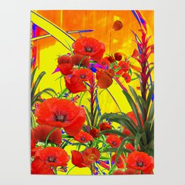 MODERN TROPICAL FLOWERS GARDEN DESIGN IN YELLOW-ORANGE COLORS Poster