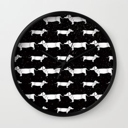 Funny Dachshund Pattern-White on Black-Mix & Match with Simplicity of life Wall Clock