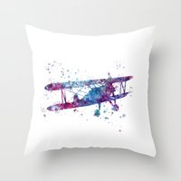 plane Throw Pillows featuring Little Plane by Watercolorist