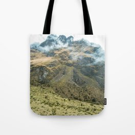 Mountain Scene | Cloudy Green Mountain Nature Landscape Photography in Peru Tote Bag