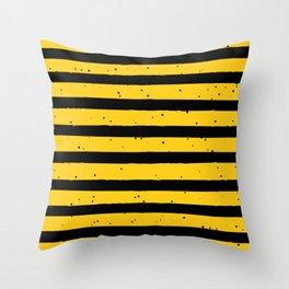 Black Yellow Vintage Stripes Pattern Throw Pillow