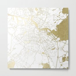 Amsterdam White on Gold Street Map Metal Print