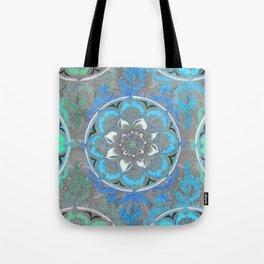 Mint Green, Blue & Aqua Super Boho Medallions Tote Bag
