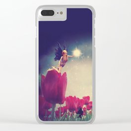 Dream fairy in fantasy land with bright red tulips at night time Clear iPhone Case