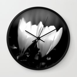 You Two - Crocus Flowers Black And White Wall Clock