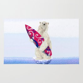 Polar bear & Surf (tribal pink) Rug