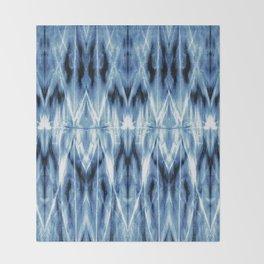 Blue Satin Shibori Argyle Throw Blanket