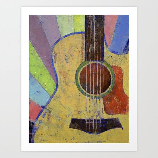 Sunrise Guitar Art Print