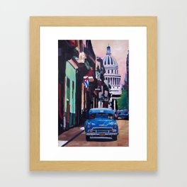 Cuban Oldtimer Street Scene in Havanna Cuba with Buena Vista Feeling Framed Art Print