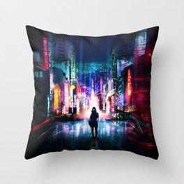 Tokyo Cyberpunk Japan Throw Pillow