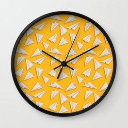 Paper Planes Pattern | White Yellow Wall Clock