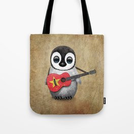 Baby Penguin Playing Vietnamese Flag Guitar Tote Bag