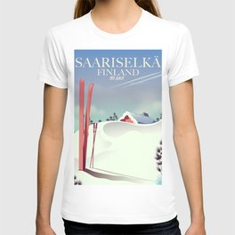 Saariselkä finland ski poster T-shirt