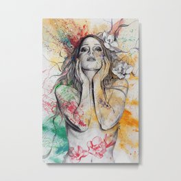 The Withering Spring I   nude tattoo woman portrait Metal Print