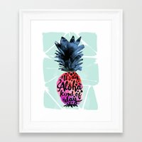 Framed Art Prints featuring Pineapple Aloha Type by Crystal Walen