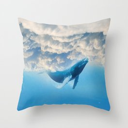 Swimming by the sky Throw Pillow