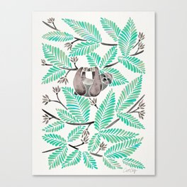 Happy Sloth – Tropical Mint Rainforest Canvas Print