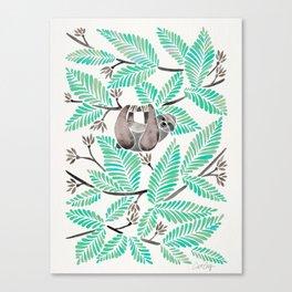 Happy Sloth – Tropical Mint Rainforest Canvas Print