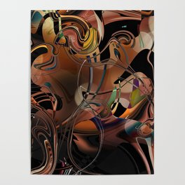 Deception copper gold brown Lines tangled design pattern Poster