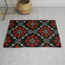 Traditional Romanian flower cross-stitch pattern black Rug