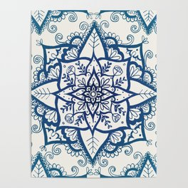 Blue Floral Pattern on Cream Poster