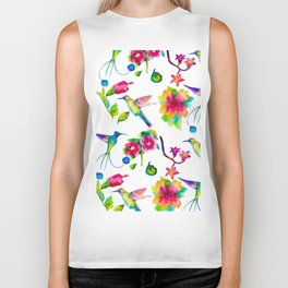 Spring, flowers and colibry Biker Tank