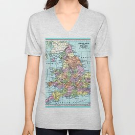 Vintage Map  of England and Wales Unisex V-Neck