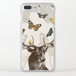 The Stag and Butterflies | Deer and Butterflies | Vintage Stag | Vintage Deer | Antlers | Woodland | Clear iPhone Case