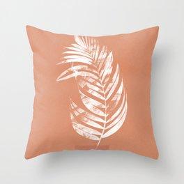 White leaf on terracotta Throw Pillow