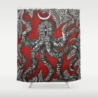 octopus Shower Curtains featuring Octopus by Sherdeb Akadan