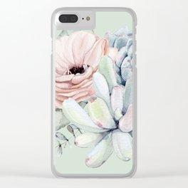 Delightful Mint + Pink Succulents Clear iPhone Case