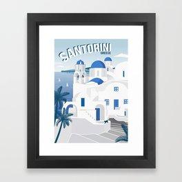 Vintage Santorini poster Framed Art Print
