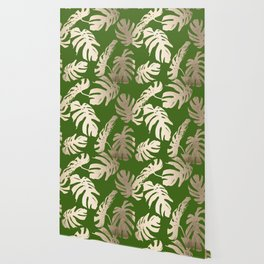 Palm Leaves White Gold Sands on Jungle Green Wallpaper