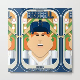 Baseball Blue Pinstripes - Deuce Crackerjack - Jacqui version Metal Print