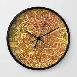 Vintage Map of Madrid Spain (1656) Wall Clock