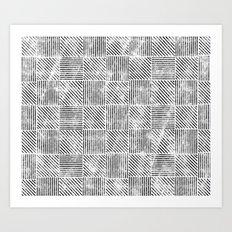 White and Black Distressed Diagonal Lines Pattern Vintage Unique Artistic Style Design Art Print