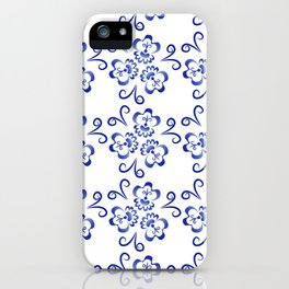 Abstract flowers in blue iPhone Case