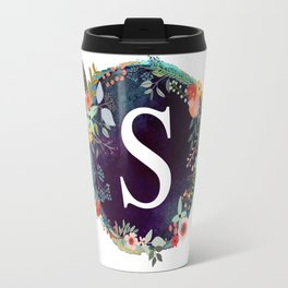 Personalized Monogram Initial Letter S Floral Wreath Artwork Travel Mug