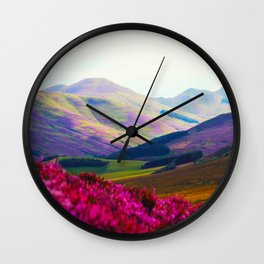 Beautiful Candy Land Fairytale Fantasy Landscape Purple pink Flowers Rolling Hills Moutains Wall Clock